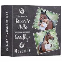 Rustic Pet Horse Memorial Photo Album 3 Ring Binder