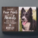 """Rustic Pet Memorial   Photo Keepsake Plaque<br><div class=""""desc"""">Personalized pet memorial plaque featuring a photo of your beloved pet, a rustic wooden background, and a sympathy quote that reads """"you left paw prints on our hearts and we are forever changed"""", a paw print, heart, your dogs name, and the dates. A wonderful keepsake and tribute of your precious...</div>"""