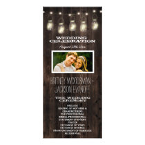 Rustic Photo Barn Wood Mason Jar Wedding Programs