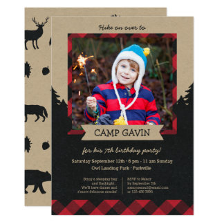 rustic photo camping birthday party invitations - Camping Party Invitations