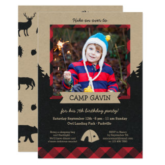 Rustic Photo Camping Birthday Party Invitations
