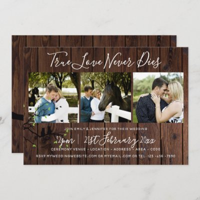 Rustic PHOTO Collage Wedding INVITATION Wood
