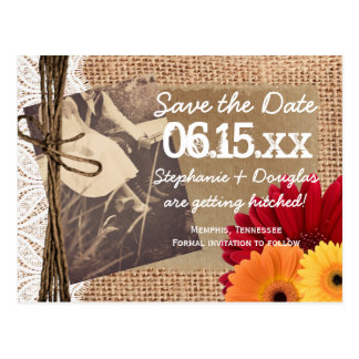 Rustic Photo Daisies Save the Date Postcards
