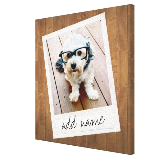 Rustic Photo Frame with Square Instagram and Wood Canvas Print