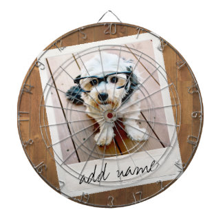 Rustic Photo Frame with Square Instagram and Wood Dartboard