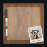 "Rustic Photo Frame with Square Instagram and Wood Dry Erase Board<br><div class=""desc"">A vintage and trendy design with a retro picture border that you can add your favorite selfie or portrait of a friend. Use a square photo to create a unique and personal gift or keep the hipster puppy and make a trendy keepsake. If you need to adjust the pictures, click...</div>"