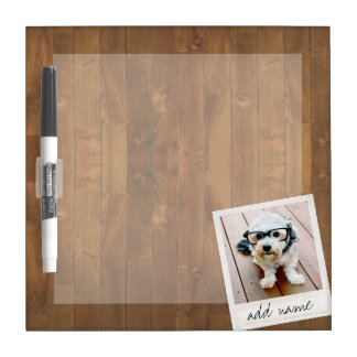 Rustic Photo Frame with Square Instagram and Wood Dry Erase Board
