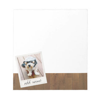 Rustic Photo Frame with Square Instagram and Wood Notepad