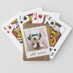 Rustic Photo Frame with Square Instagram and Wood Playing Cards