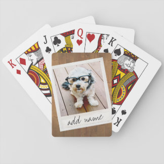 Rustic Photo Frame with Square Instagram and Wood Poker Deck
