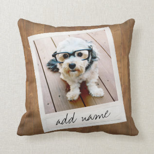 Rustic Photo Frame With Square Instagram And Wood Throw Pillow at Zazzle