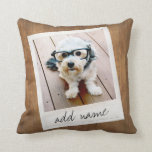 "Rustic Photo Frame with Square Instagram and Wood Throw Pillow<br><div class=""desc"">A vintage and trendy design with a retro picture border that you can add your favorite selfie or portrait of a friend. Use a square photo to create a unique and personal gift or keep the hipster puppy and make a trendy keepsake. If you need to adjust the pictures, click...</div>"