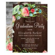 Rustic PHOTO garden roses graduation party Card