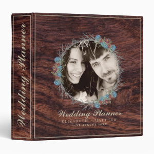 Rustic PHOTO Personalized Wedding Planner Album 3 Ring Binder