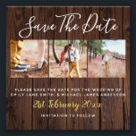 "Rustic PHOTO Save the Date Wedding Bargain Budget<br><div class=""desc"">Note size: 4x4inch Photo Paper. Part of the low budget wedding collection this alternative for a wedding invitation does NOT include envelopes. Check the postage rates in your area for this size and shape invite to ensure you are still making savings. Elegant rustic wood photo collage themed wedding Save The...</div>"