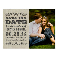 Rustic Photo Save the Dates | Vintage Typography Postcard