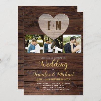 Rustic PHOTO Wedding Invitations Gold Calligraphy
