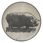 Rustic Pig Etching Dinner Plates