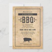 Rustic Pig Roast BBQ Birthday Party Invitation