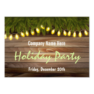 Rustic Pine and Barn Board Christmas Party Card at Zazzle
