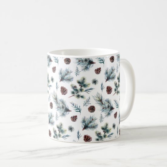 Rustic Pine Branches Pine Cones Coffee Mug