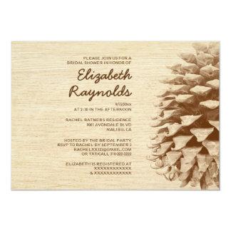 Rustic Pine Cone Bridal Shower Invitations Announcement