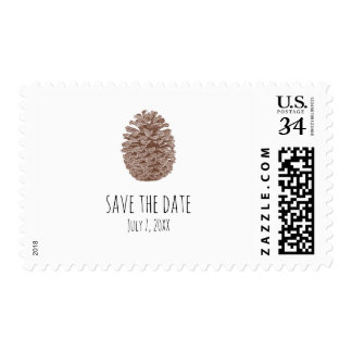 Rustic Pine Cone Elegant Simple Country Wedding Postage