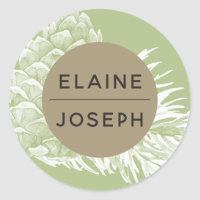 Rustic Pine cone Wedding Classic Round Sticker
