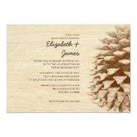 Rustic Pine Cone Wedding Invitations