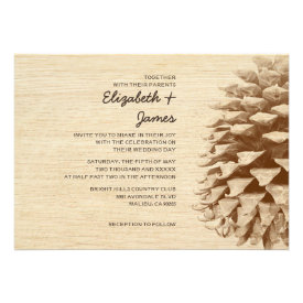 Rustic Pine Cone Wedding Invitations Custom Invite