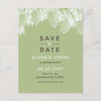 Rustic Pine cone wedding save the date Announcement Postcard