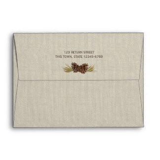 Rustic Pine Cones and Burlap Navy Blue Envelope