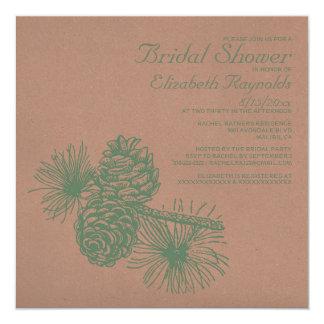 Rustic Pine Cones Bridal Shower Invitations Announcement