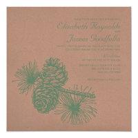 Rustic Pine Cones Wedding Invitations
