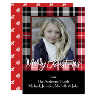 Rustic Pine Holly and Plaid Christmas Photo Card