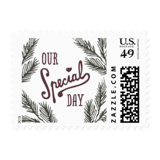 Rustic Pine Needle Love Postage Stamp