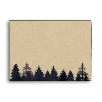 Rustic Pine Tree Forest Kraft Wedding 5x7 Envelope