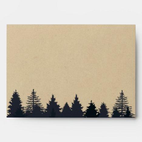 Rustic Pine Tree Forest Kraft Wedding 5x7 Envelope