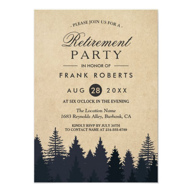 Rustic Pine Trees Forest Kraft Retirement Party Card