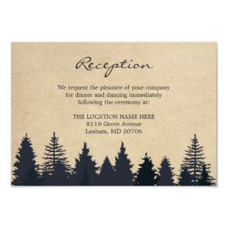 Rustic Pine Trees Kraft Wedding Details Reception Card