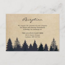 Rustic Pine Trees Kraft Wedding Details Reception Enclosure Card