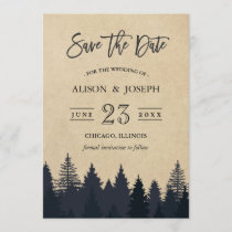 Rustic Pine Trees Kraft Wedding Save the Date
