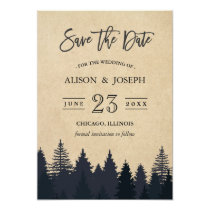 Rustic Pine Trees Kraft Wedding Save the Date Card