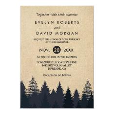 Rustic Pine Trees Kraft Winter Wedding Invitation at Zazzle
