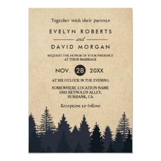 Rustic Pine Trees Kraft Winter Wedding Invitation