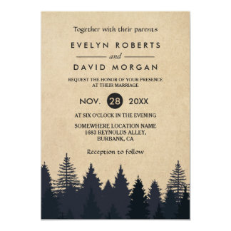 Rustic Pine Trees Kraft Winter Wedding Invitation