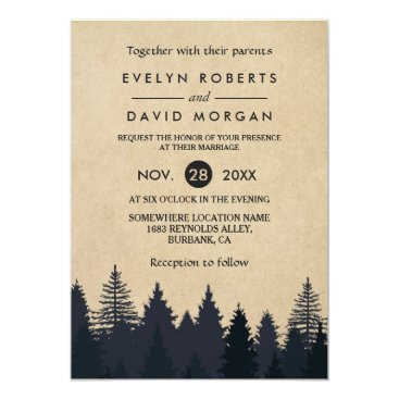 CardHunter Rustic Pine Trees Kraft Winter Wedding Invitation