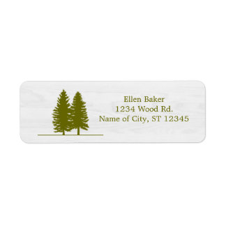 Rustic Pine Trees on White Wood Background Label