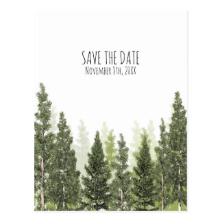 Rustic Pine Trees Simple Country Save the Date Postcard