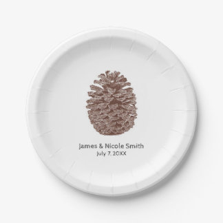 Rustic Pine Trees Simple Country Wedding Paper Plate